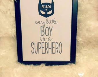 Personalised 'Every little boy is a super hero' Framed Print