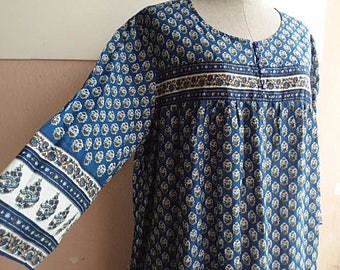 M - L - Boho Gypsy Indian Dress - Summer Cotton Dress - Blue Paisley Print - Cotton Dress - Made in India - - Mother Day Gift