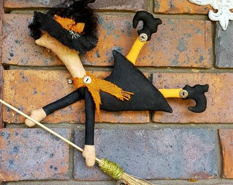 KITCHEN WITCH-Edith Rustic flying WITCH wall doll with bat-magical wiccan pagan witchcraft decor-rustic cottage decor-halloween decor-gift.