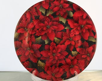 Decorative Christmas/Poinsettia Plate