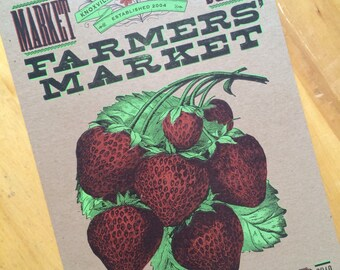 STRAWBERRY Poster Farmers market Hand printed Letterpress poster Kitchen decor Rustic wall art Strawberry fruit print Kitchen art Botanical