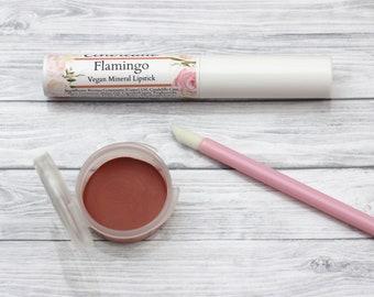 """Vegan Coral Lipstick - """"Flamingo"""" (semi-sheer orange natural lip tint)"""