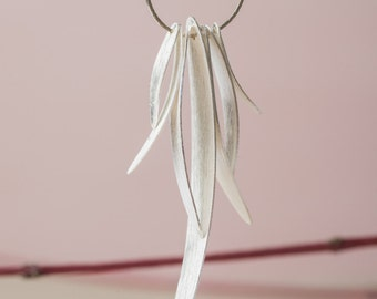 Leaf necklace, wedding jewelry, silver necklace for spring, organic jewelry, woman gift.