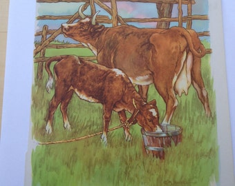 Moo Cow and Calf - A Clara M Burd Vintage Print 1930s Childrens Book Print