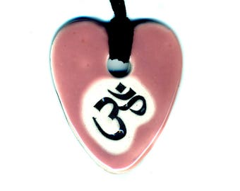 Om Ceramic Necklace in Pink