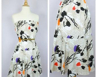Vintage 1980's Graphic Floral Flared Hem Midi Skirt/Mini Dress M