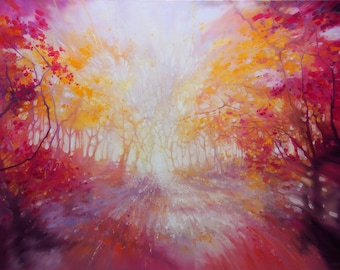 LARGE ORIGINAL Oil Painting - Nature Calls - a large autumn landscape with stag