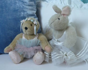 Teddy and Bunny Ballerinas, Vintage plush animals