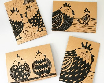 4 x Clucky Chicken greetings card pack for Easter, Birthdays or other occasion