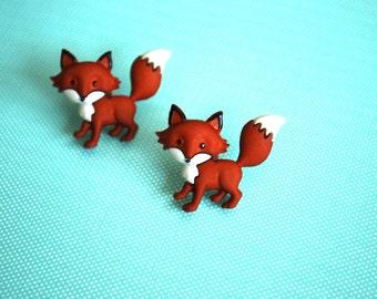 Fox Earrings -- Fox Studs, Orange Fox, Silver