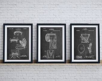 Patent posters patent art and blueprint art by patentprints bathroom art patent posters group of 3 bathroom wall decor toilet seat toilet malvernweather Choice Image