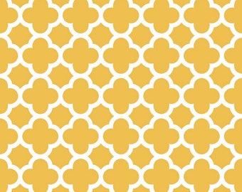 Mustard Quatrefoil Fabric by Riley Blake Designs - by the Yard - 1 Yard - Mustard Yellow - Quatre Foil - C435-66