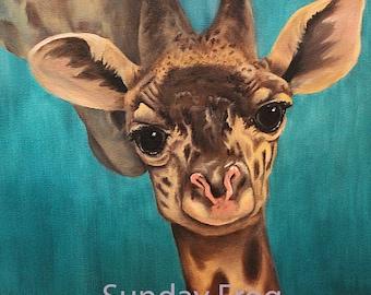 Giraffe Print of Original Oil Painting