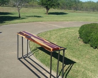 Live edge red cedar and iron sofa/entry table. Handcrafted in Texas.