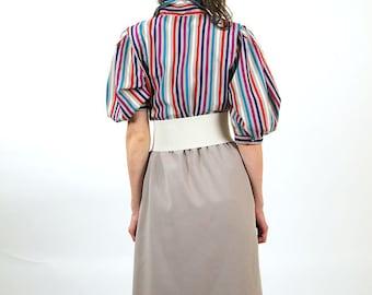 Striped colorful vintage dress, women midi dress, summer fashion, size L, 12