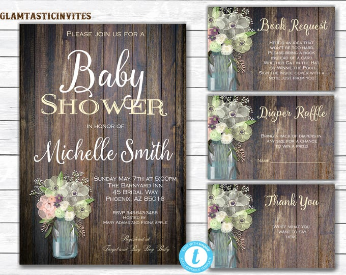 Rustic Baby Shower Invitation,  Baby Shower Template, Baby Shower Template, Country Baby Shower, Baby Shower Package Template, DIY