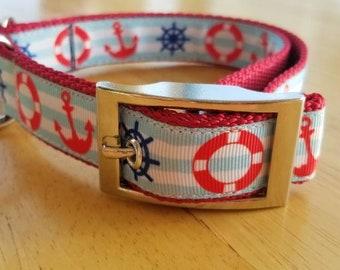 "1"" Nautical Dog Collar"