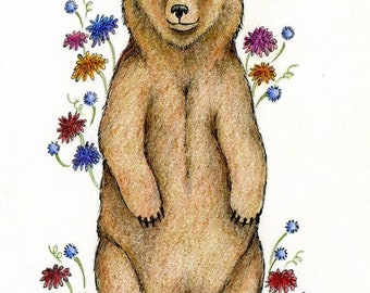 flower brown bear original ink and colored pencil drawing