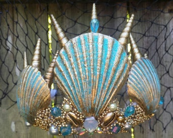 "Mermaid crown , Turquoise and  gold seashell  "" Arlos"""