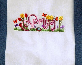 Spring Is The Season For Flower's And Butterflies Embroidered Flour Sack Towel