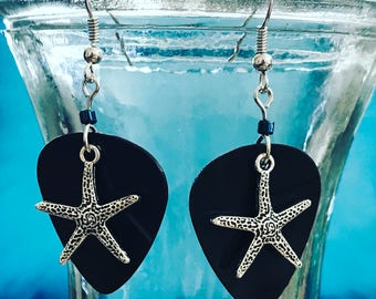 Starfish Guitar Pick Earrings made from Vinyl Records