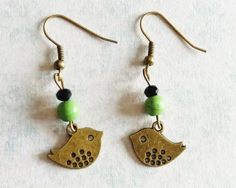 Bronze birds and beads earrings