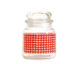Anchor Hocking Jar, Glass Candy Jar, Vintage Storage Container, Red Gingham Plaid, Bubble Top Jar