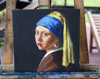 Girl with a Pearl Earring Johannes Vermeer oil on canvas antique oil painting art artist painting wall art Portrait painting original woman