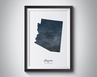 Arizona State Map, Instant download, digital print, Arizona art Map