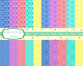 Bright shapes digital paper pack. INSTANT DOWNLOAD 20 sheets for personal and commercial use.