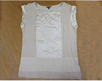 Silk Blouse White Flowy Lace Peasant Top Size Large