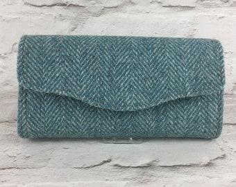 Harris Tweed clutch bag, purse, necessary clutch wallet, evening bag Pale teal herringbone