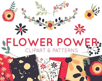Wild Flowers Clipart Set - CLIP ART - Seamless Patterns - Hand Painted Florals for commercial use - Vector Clipart - Hand Drawn Clipart