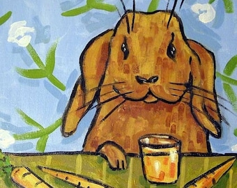 25% off bunny art - Bunny Rabbit Drinking Carrot Juice Animal Art Tile Coaster - bunny gift