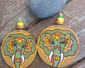 Chanda Bohemian Hand Painted Earrings