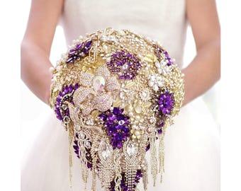 luxury Wedding Brooch Bouquet Bridal Bouquet Wedding Gift Bouquet Wedding Dress Crystal Bouquet Purple Bouquet Broach Bouquet Gold Bouquet