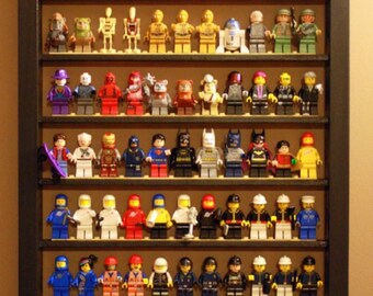 Lego Minifigure Display Case - Black/White/Red/Dark Walnut/Natural Oak (Displays 99 Minifigures!)