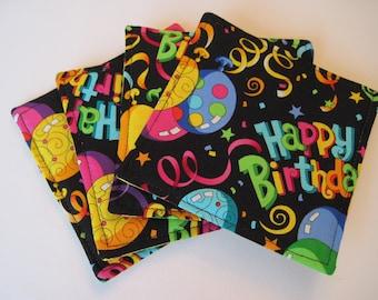 Birthday Party Coasters Set of 4 or 6  Reversible Happy Birthday Rug Mugs Balloon Coasters Blue Party Coasters Blue Birthday Decoration