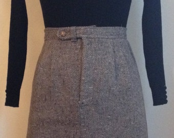 Vintage 1970s/70s High Waist A-Line Tweed Skirt with Front Slit Zip/Button Front