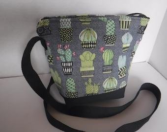 Cactus Print Fabric Crossbody Bag