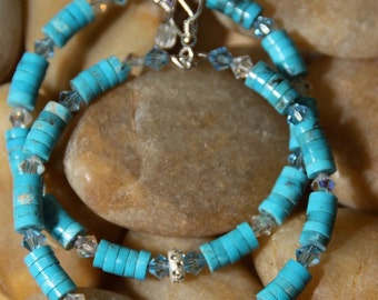 Turquoise stone Hoop Dangle Earrings UPTOWN COOL