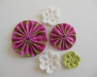 Yo-Yos and Crocheted Flowers - Pink, White and Green - Cotton Appliques - Cotton Embellishments - Crocheted Flower Appliques