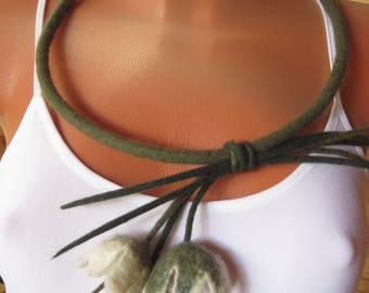 Flower necklace Felt necklace Green necklace Felt flowers  Olive necklace Felt flower necklace Wool statement necklace Olive green necklace