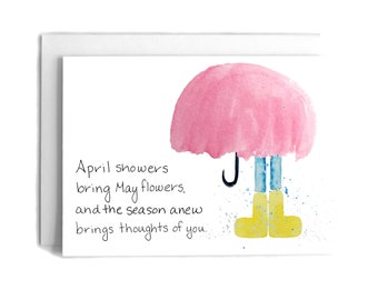 April Showers Thinking of You Card | Thinking of You Greeting Card | Spring Greeting Card