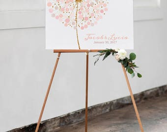 Make a wish Wedding Guest book dandelion - tarassaco watercolor guestbook wedding - Print on canvas wedding - Wedding pale pink gold blush