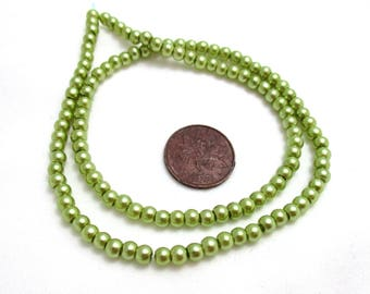 """Olive Green 3.5mm Round Glass Pearl Beads - 16"""" Strand - Beads for Jewelry Making - Jewelry Supplies - Light Green Pearls"""