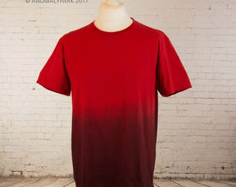 Red horror tshirt gradient tee grunge top dip dyed ombre shirt halloween shirt Mens T shirt soft grunge tshirt zombie aesthetic clothing