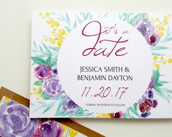 Printed Rustic Watercolor Floral Save The Date . Purple Floral . It's A Date . Purple Watercolor Save The Date . Rustic Watercolor