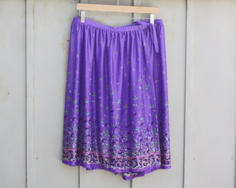 Plus Size Hippie Skirt - Purple Floral Skirt - 70s Wrap Skirt - Plus Size Bohemian Skirt - Calico Skirt - Boho Wrap Skirt - Festival Skirt