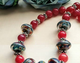 One of a Kind Artisan Lampwork and Raspberry Quartz Necklace